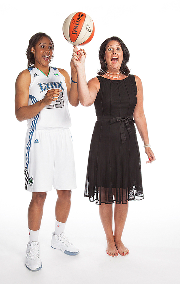 Maya Moore and Joni Henderson, her forth grade teacher for, TeachersCount.