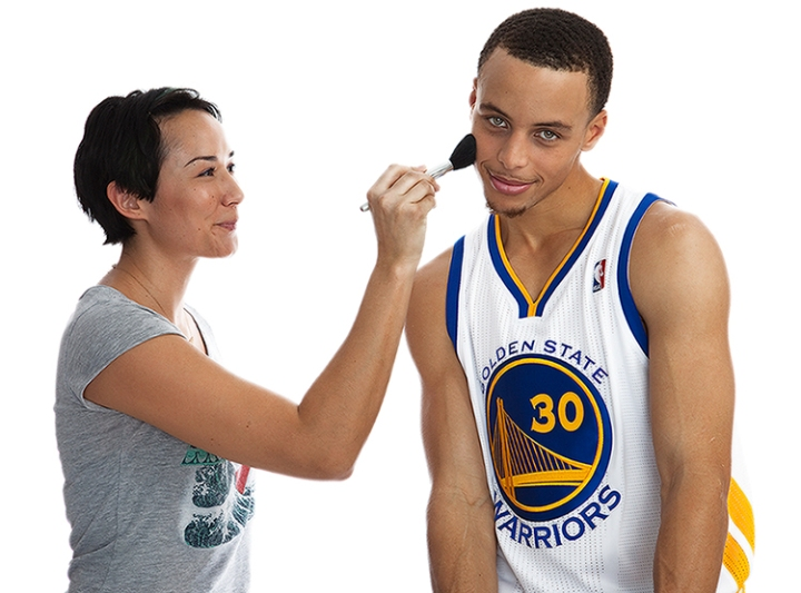 Portrait of Stephen Curry with Rita Tongco