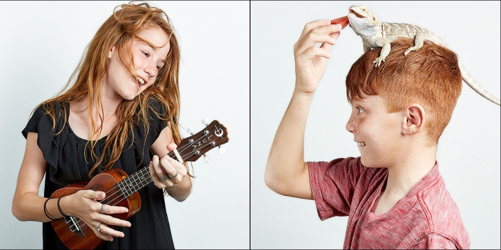 Portraits of redheaded kids